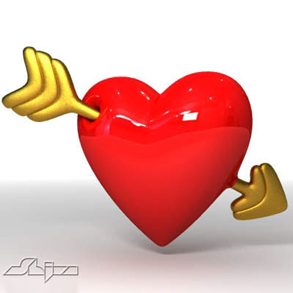 3ds heart arrow - Heart with arrow... by shiva3d