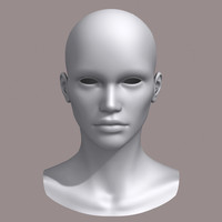 3d polygonal female head model