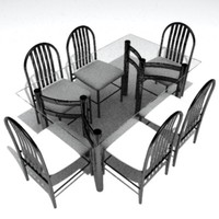 contemporary dining table 3d model
