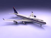 3d model 747-400 airliner delta 747 jumbo
