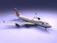 3d 747-400 airliner british airways model