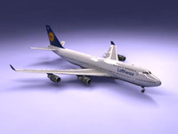 747-400 airliner lufthansa 747 jumbo 3d model