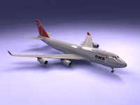 3d model 747-400 airliner northwest 747 jumbo