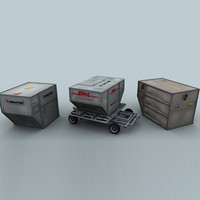 3d model airline containers trolley load
