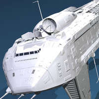 3d cargo spacecraft spaceship model