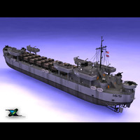 lst landing transport ship boat 3d model