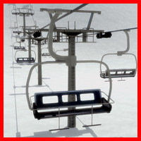 chair lift tower 3d model
