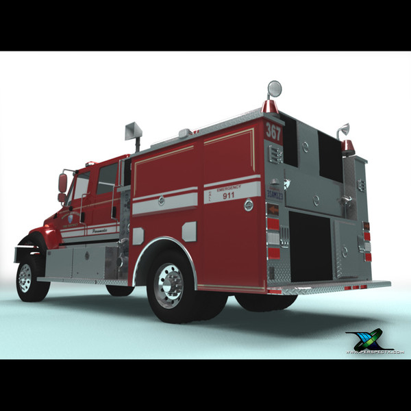 international engine 3d model - International Fire Engine... by PerspectX