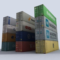 pack containers 3d model