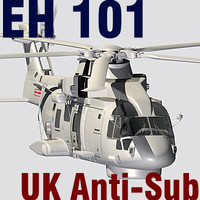UK Navy  EH-101 Merlin anti-submarine helicopter C4D