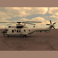 eurocopter super puma helicopter 3d model