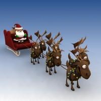 santa sleigh reindeer 3d model