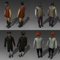 medieval human characters 3d model