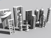 futuristic buildings vol 2 3d model