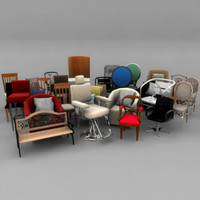 chairs stools pack 3d model