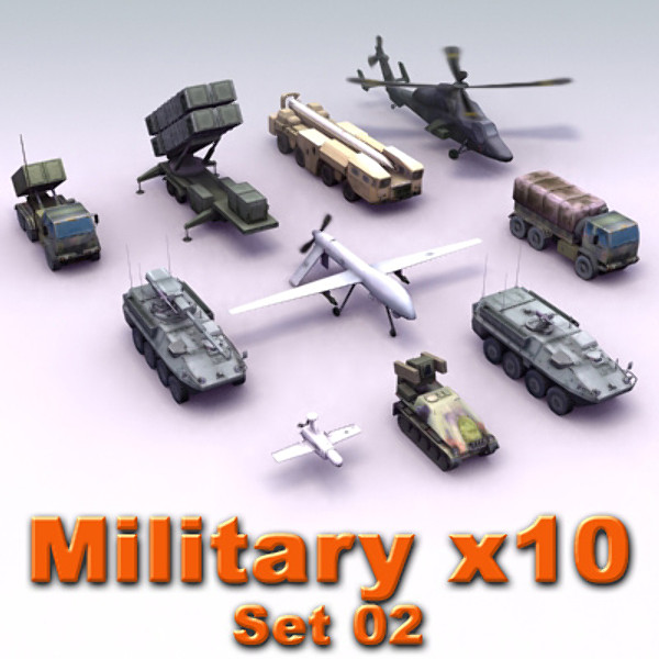 military vehicles truck 3d max - Army Vehicle x10 Set02... by ES3DStudios