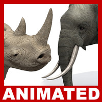 3d model elephant rhino rigged polys