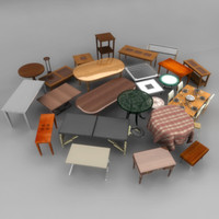 3d tables coffee dining model