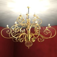 gold chandelier lighting 3d model