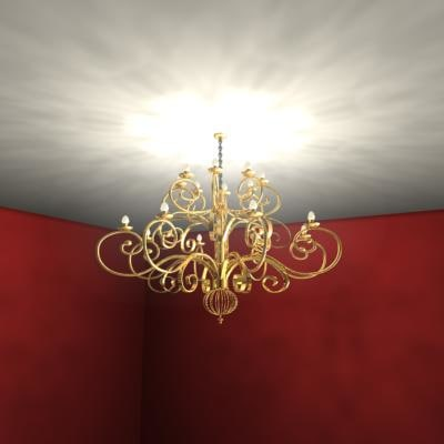 gold chandelier lighting 3d model - Gold Chandelier... by Raouldip