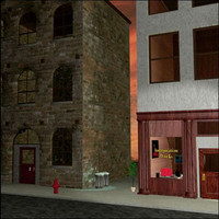 3d model building city street exterior scene