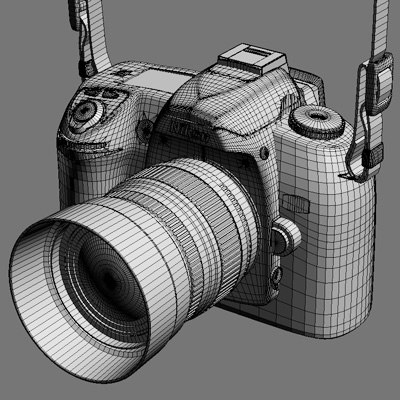 3d nikon d70s dslr camera - Nikon D70S DSLR camera with belt... by Pekdemir