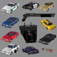 sedan 8in1 taxi police car 3d model
