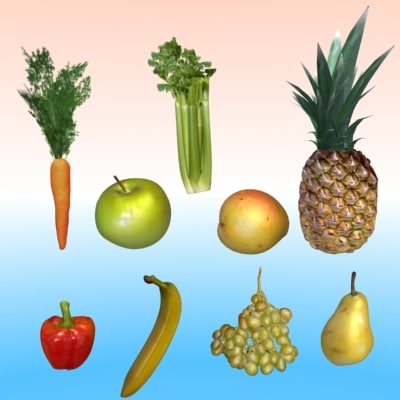3d fruits collections model - fruits collections... by be fast