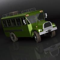 3d bus 4x4 vintage model