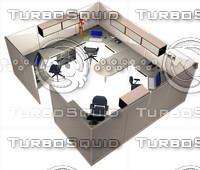 3d model of office workstation bullpen