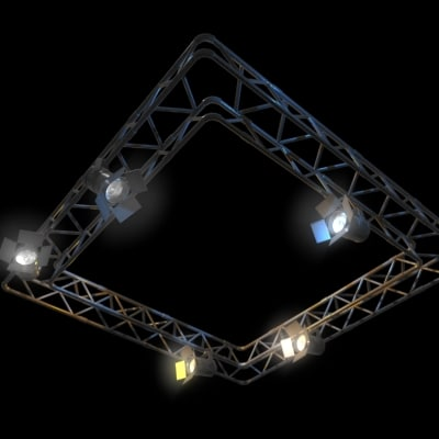 Lighting rig 3d model for 3d setup builder