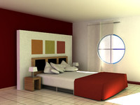 3d model of bedroom scene modern