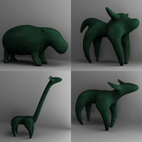 animal statues statuettes 3d model