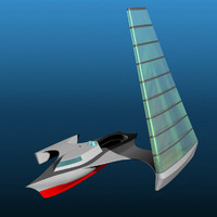 3d futuristic trihull sailboat pztrihull model