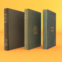 3 old rare books 3d obj