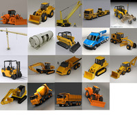 truck bulldozer crane loader 3d model