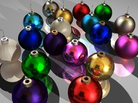 multicolored christmas ornaments 3d 3ds
