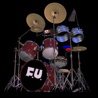drum set pzdrums 3d model
