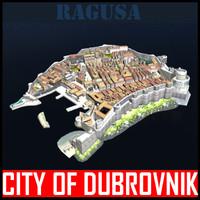medieval city dubrovnik 3d model