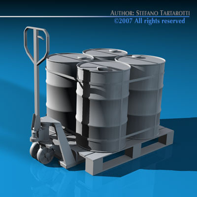 pallet truck barrels 3d model - Pallet truck... by tartino