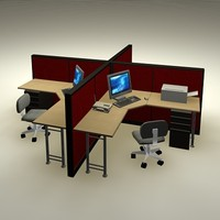 3d model office workstations pack computers