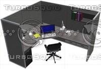 work station cubicle desk 3ds