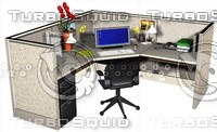 3d office cubicle model