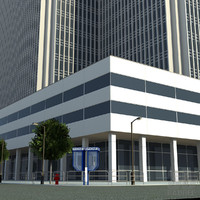 3d office block build city