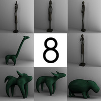 3d model 8 statuettes statues