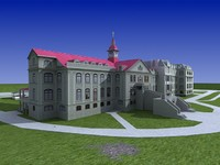 Academy. Old Building. 3D Model