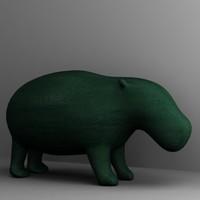 3d model hippo statuette