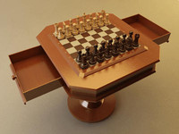 Chess Set with Table - Vray
