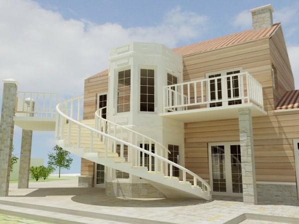 American style house 3d model for American villa design