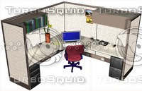 3dsmax office cubicle workstation desk